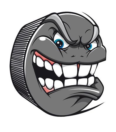 hockey goal: Angry hockey puck mascot in cartoon style Illustration
