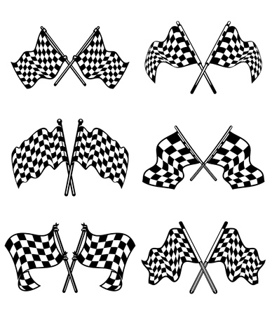 sports race emblem: Checkered flags set for racing and autosport design