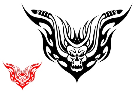 Tribal biker motorcycle tattoo with fire flames Vector
