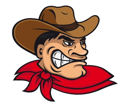 Cartoon vaquero en el sombrero para el diseño de la mascota