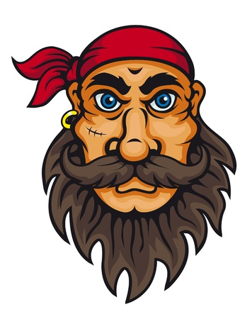 dangerous man: Old corsair in cartoon style for mascot or fairytale design