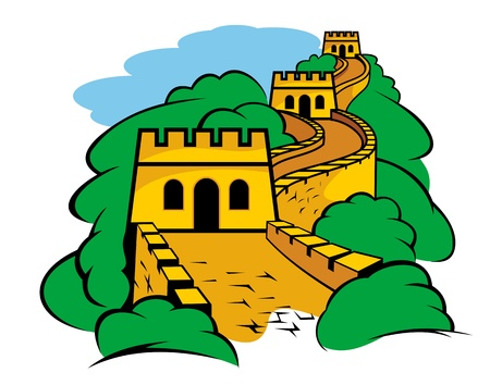 china wall: Chinese Great Wall landscape for travel design Illustration