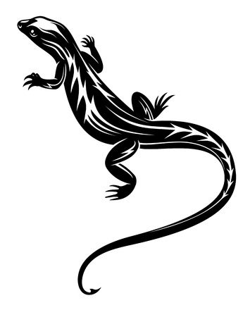salamandra: Reptil lagarto negro rápido para el diseño del tatuaje o el medio ambiente