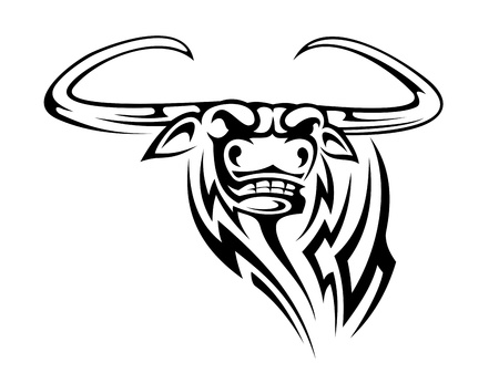 Buffalo mascot isolated on white background for tattoo Vector