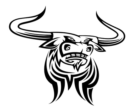 bulls: Angry black bull mascot isolated on white background