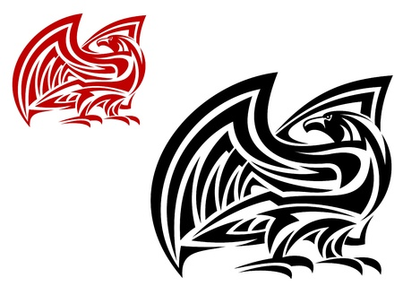 phoenix bird: Tribal eagle mascot in two colors variations isolated on white background