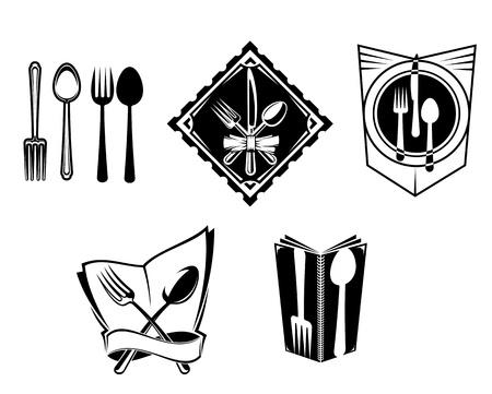logos restaurantes: Iconos de men� en restaurantes y s�mbolos establecido para el dise�o de servicio de alimentos