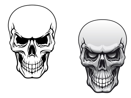 Human skulls in color and monochrome versions for tattoo design
