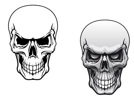 totenk�pfe: Menschliche Sch�del in Farbe und Schwarzwei�-Versionen f�r Tattoo-Design Illustration