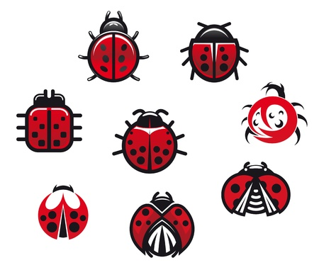 Ladybugs and ladybirds set in icon style isolated on white background Vector