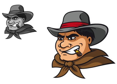 Western cowboy in cartoon style for mascot Illustration