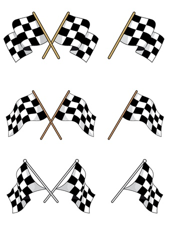 sports race emblem: Set of racing checkered flags for sports design
