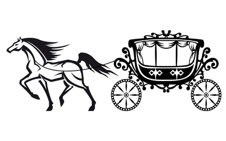 Horse with vintage carriage for retro design Vector