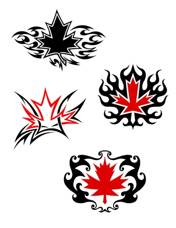 Maple leaf mascots in tattoo style for design Vector