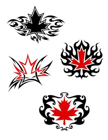 Maple Leaf maskoti v tetování stylu pro design