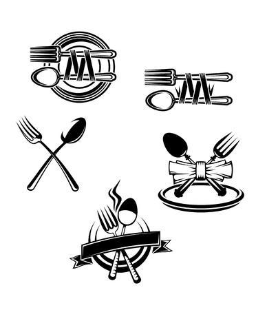silverware: Restaurant menu symbols and embellishments isolated on white background