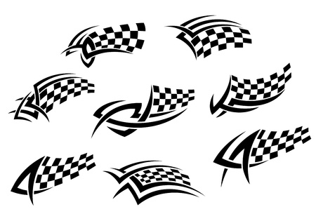 finish flags: Checkered flags in tribal style for tattoo or sports design