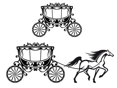 Horse with old carriage in retro style Vector