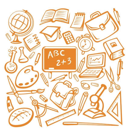 study icon: Back to school - many isolated education objects