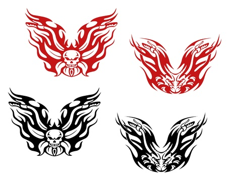 Bikers and bikes tattoos in tribal style Vector