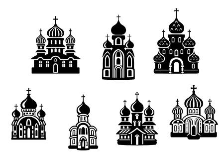 monasteri: Chiese e templi stabiliti per la progettazione religione Vettoriali