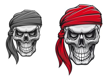 Peligro pirata cráneo en bandane para el diseño de tatuaje o una camiseta Ilustración de vector