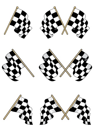 Checkered flags set with double and single elements Vector