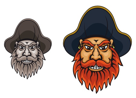 Pirate captain in hat for mascot design Vector