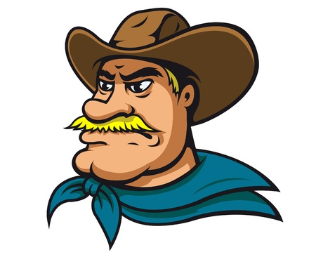 American cowboy or sheriff in cartoon style
