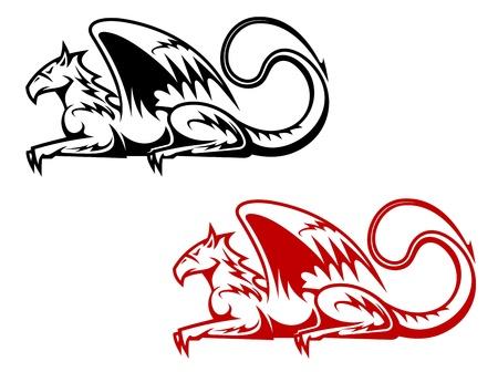 Vintage heraldic griffin symbols for heraldry design Vector
