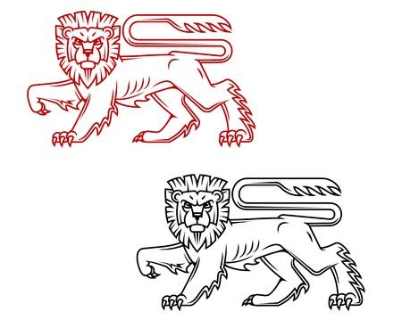 chevalerie: H�raldique du lion king dans le style bande dessin�e pour la d�coration r�tro et fleuri Illustration