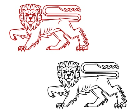 aristocracy: Heraldic lion king in retro cartoon style for decoration and ornate
