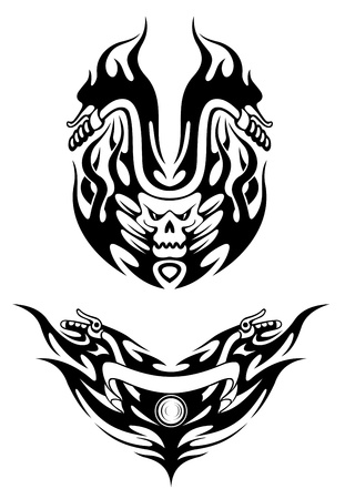 sports race emblem: Two bike tattoos in tribal style for t-shirt design
