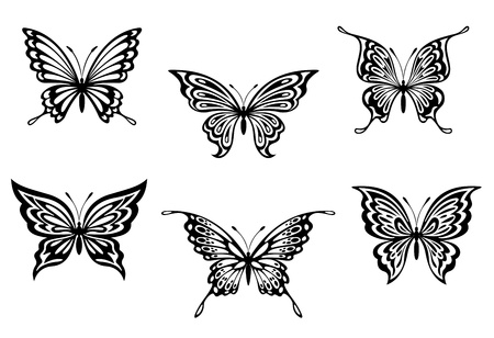 tatuaje mariposa: Conjunto de butterflyes negros para tatuaje o un elemento decorativo Vectores