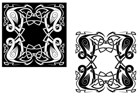Herons with ornamental elements and knots in celtic style Vector
