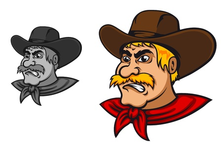 cowboy background: Angry western cowboy mascot in cartoon style Illustration