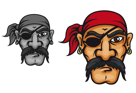 Old danger corsair captain in cartoon style for mascot design Vector