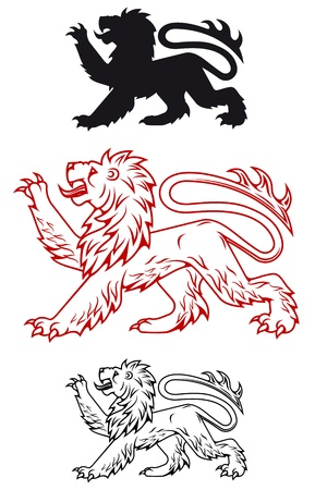 claws: Medieval heraldic lion in color and silhouette variations Illustration