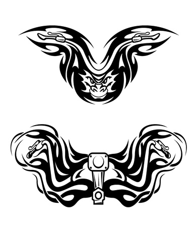 Motorcycles mascots with tribal flames for tattoo design Vector