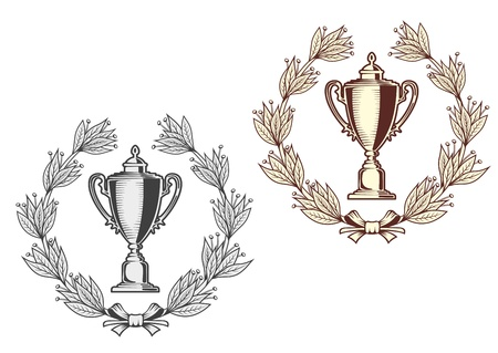 sport celebration: Award bowl with laurel wreath for sports or another achievement design concept
