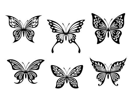 farfalla tatuaggio: Tatuaggi farfalla nero e silhouette isolato su sfondo bianco