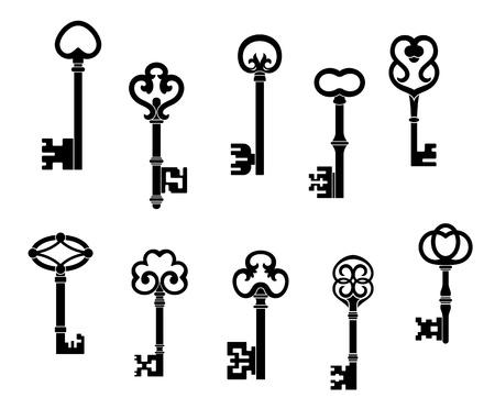 old keys: Old and vintage keys set with secret silhouettes Illustration