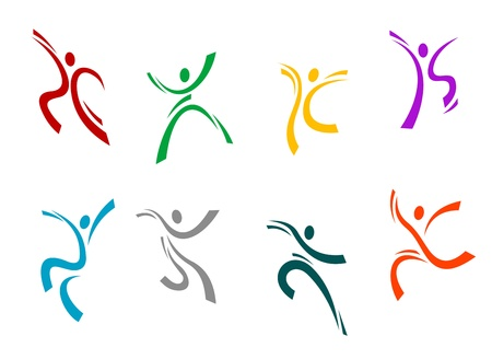 exercise silhouette: Running, jumping and dancing peoples set for sports design