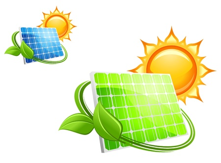 Solar panels and batteries for alternative energy concept Vector