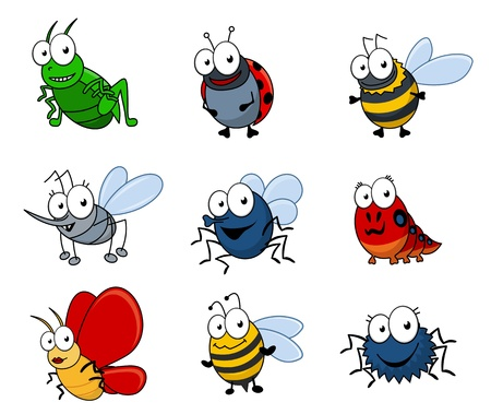 insect flies: Set of cartoon insects isolated on white background
