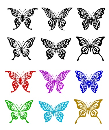 papillon dessin: Papillon mis en style coloré et monochrome pour le tatouage ou d'embellissement Illustration