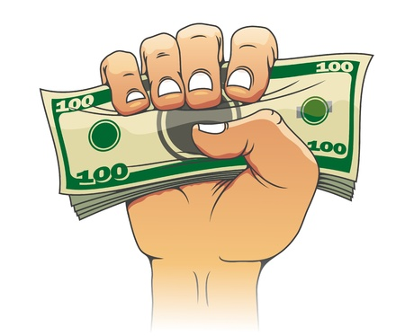 paying bills: Money in people hand for investment concept design