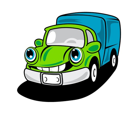 Cartoon delivery truck with smile for transportation service design Vector