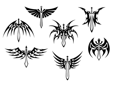 Swords and daggers tribal tattoos set isolated on white background
