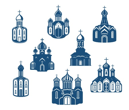 Religious churches and temples set for religion design Vector